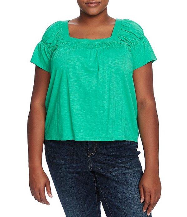 セセ レディース Tシャツ トップス Plus Size Short Sleeve Square Neck Knit Top Jasmine Green