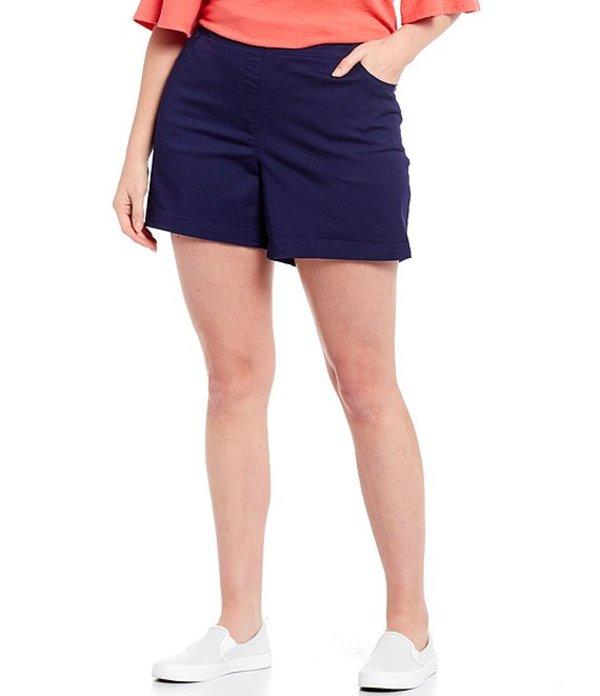 ウエストバウンド レディース ハーフパンツ・ショーツ ボトムス Plus Size the PARK AVE fit Flat Front Shorts Evening Blue