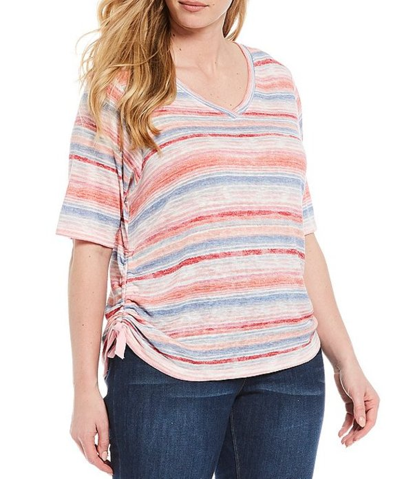 デモクラシー レディース Tシャツ トップス Plus Size V-Neck Side Ruched Stripe Knit Tee Pink Multi