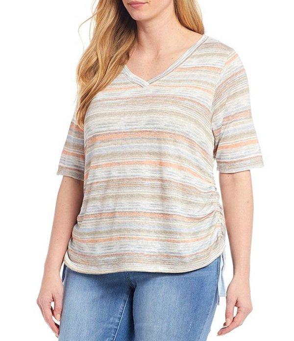 デモクラシー レディース Tシャツ トップス Plus Size V-Neck Side Ruched Stripe Knit Tee Taupe Multi