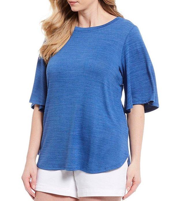 ウエストバウンド レディース Tシャツ トップス Plus Size Flutter Sleeve Top Bright Cobalt