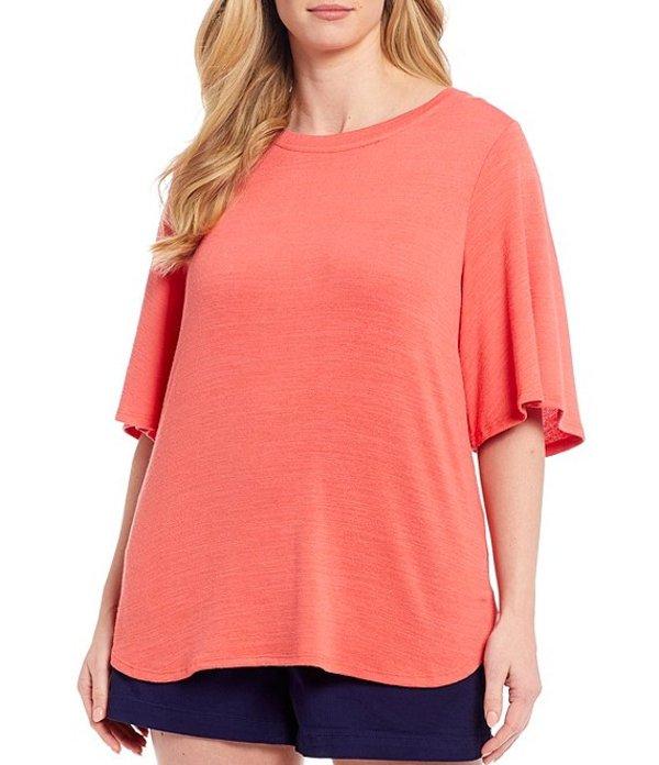 ウエストバウンド レディース Tシャツ トップス Plus Size Flutter Sleeve Top Spiced Coral