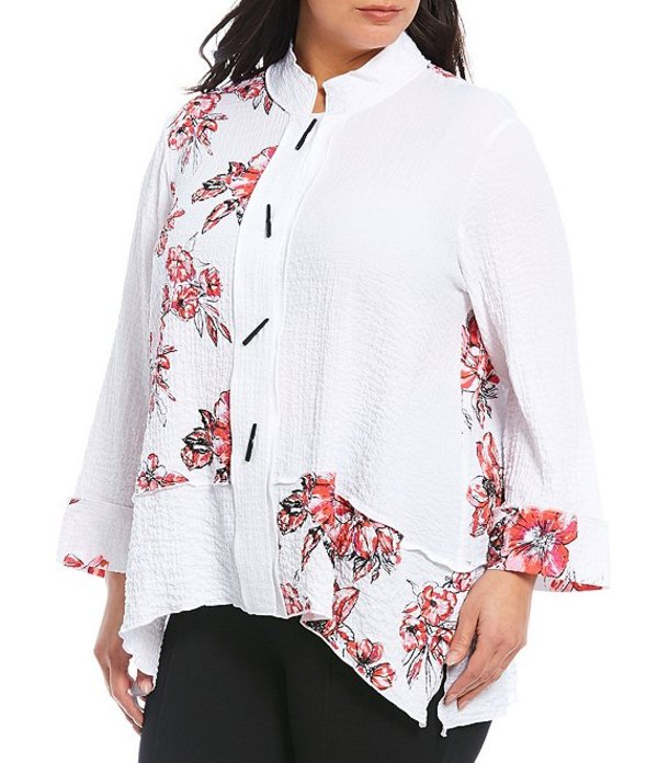 アリ マイルス レディース カットソー トップス Plus Size Floral Printed Crinkle Hi-Low Mock Neck Novelty Button Front Blouse Floral Multi