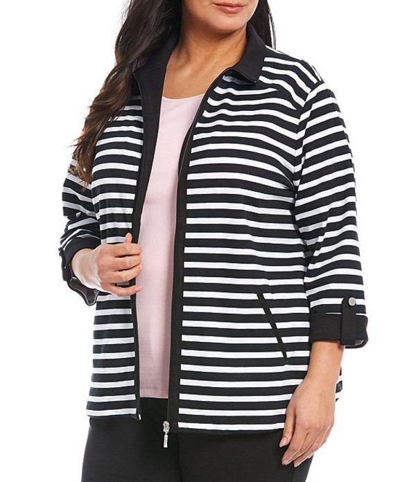 アリソン デイリー レディース ジャケット・ブルゾン アウター Plus Size Striped San Remo Knit Zipper Front Cotton Blend Jacket White/Black Stripe