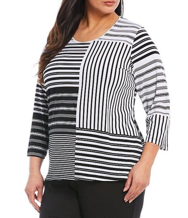 アリソン デイリー レディース Tシャツ トップス Plus Size Striped Colorblock 3/4 Sleeve Knit Jersey Top Stripe Patch