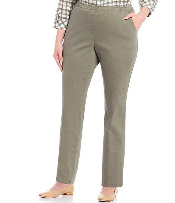 アリソン デイリー レディース カジュアルパンツ ボトムス Plus Size Stretch Twill Pull-On Straight Leg Pants Sage