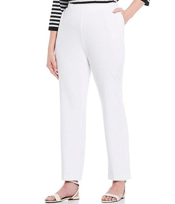 アリソン デイリー レディース カジュアルパンツ ボトムス Plus Size San Remo Knit Pull-On Straight Leg Pants White