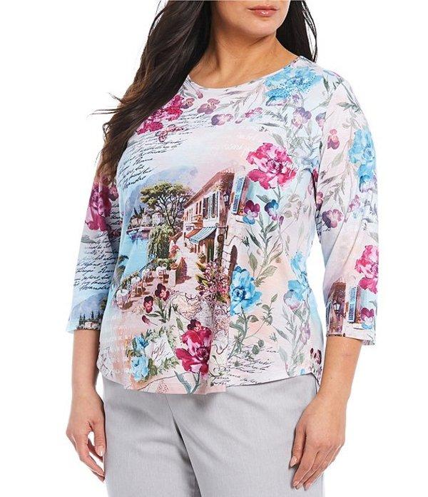 アリソン デイリー レディース Tシャツ トップス Plus Size Pink Butterfly Print Spun Knit Jersey Embellished 3/4 Sleeve Top Pink Butterfly