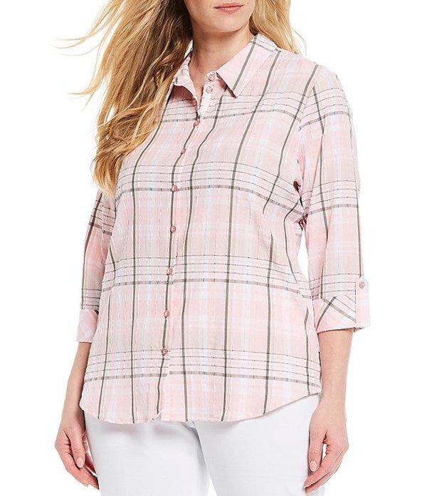 アリソン デイリー レディース シャツ トップス Plus Size Crinkle Plaid Roll-Tab Sleeve Button Down Shirt Pink Plaid