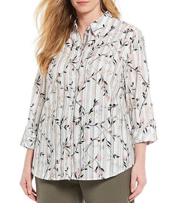 アリソン デイリー レディース シャツ トップス Plus Size Floral-Dobby Stripe Print 3/4 Roll-Tab Sleeve Button Front Shirt Olive Stripe