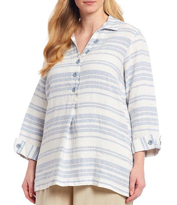 ジョン マーク レディース カットソー トップス Plus Size 3/4 Sleeve Striped Tunic Chambray