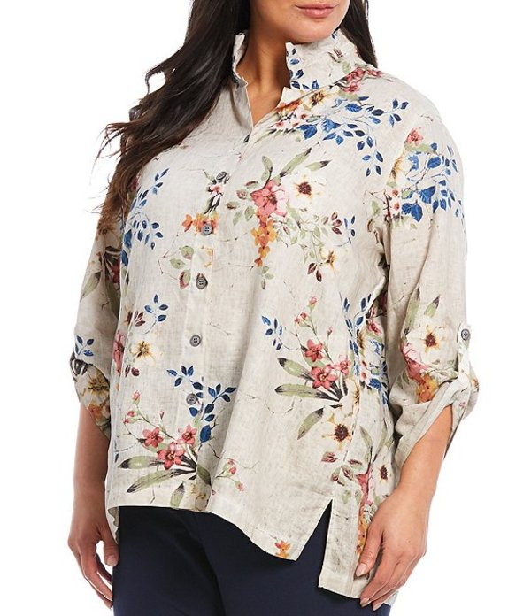 ジョン マーク レディース カットソー トップス Plus Size Floral Print Linen Hi-Low Button Front Tunic Multi Floral