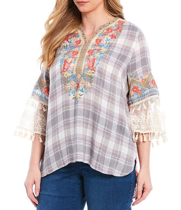 ジョン マーク レディース カットソー トップス Plus Size Plaid Floral Lace Embroidery 3/4 Bell Sleeve Cotton Blend Tunic Multi
