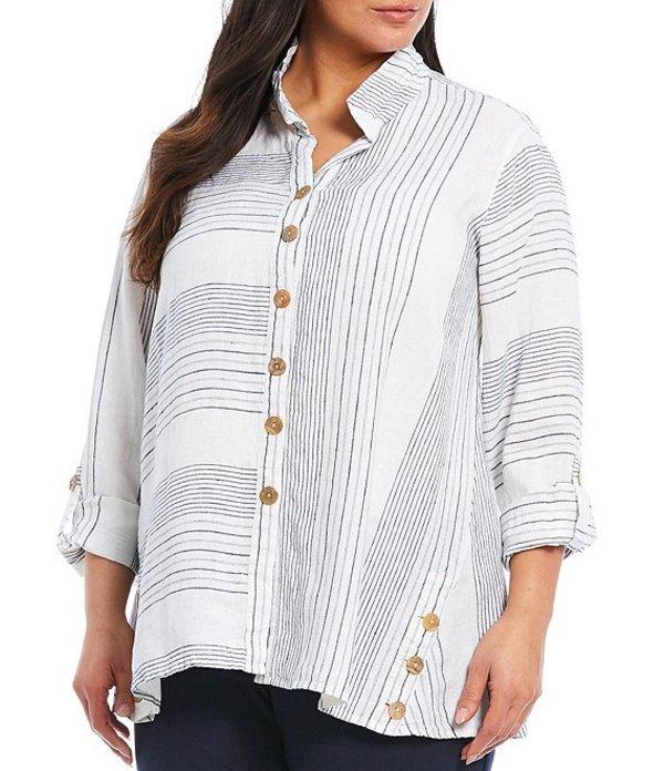 ジョン マーク レディース シャツ トップス Plus Size Yarn Dye Mixed Stripe Linen Button Front Wire Neck Top Navy Stripe