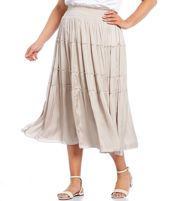 ジョン マーク レディース スカート ボトムス Plus Size Satin Ruffle Smocked Elastic Waist Pull-On Skirt Beige