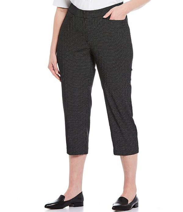インベストメンツ レディース カジュアルパンツ ボトムス Plus Size the 5th AVE fit Elite Stretch Dot Print Crop Pant Black/White Dot