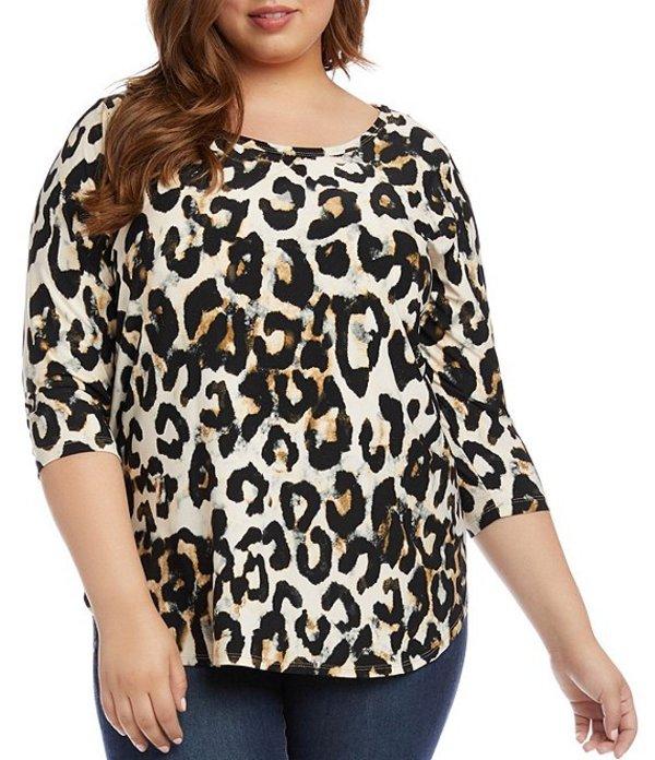 カレンケーン レディース Tシャツ トップス Plus Size 3/4 Sleeve Shirttail Hem Cheetah Print Top Black White Cheetah