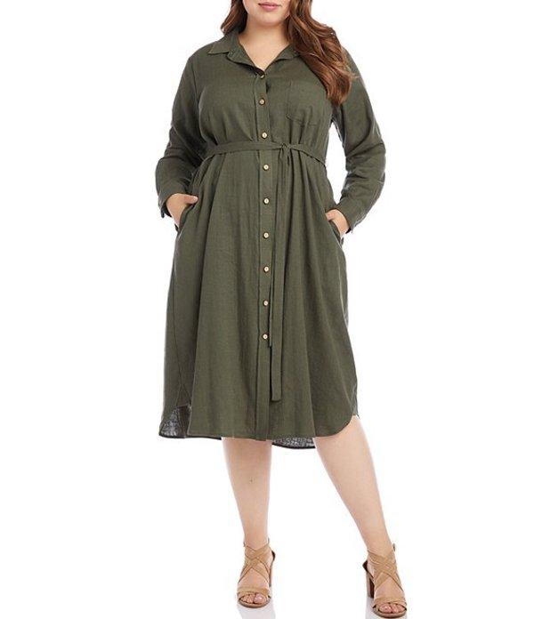 カレンケーン レディース ワンピース トップス Plus Size Long Sleeve Shirt Dress Olive