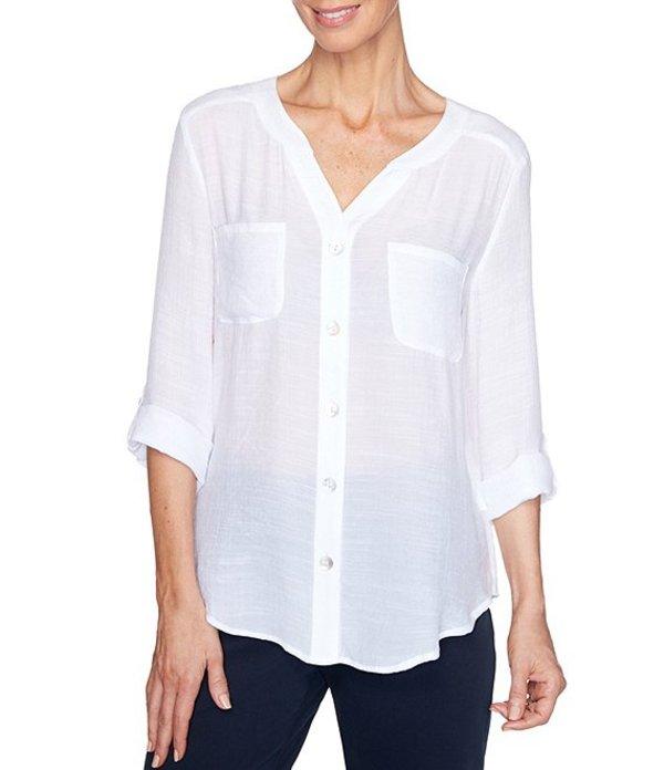 ルビーアールディー レディース シャツ トップス Plus Size Silky Gauze Roll-Tab Sleeve Button Front Top White