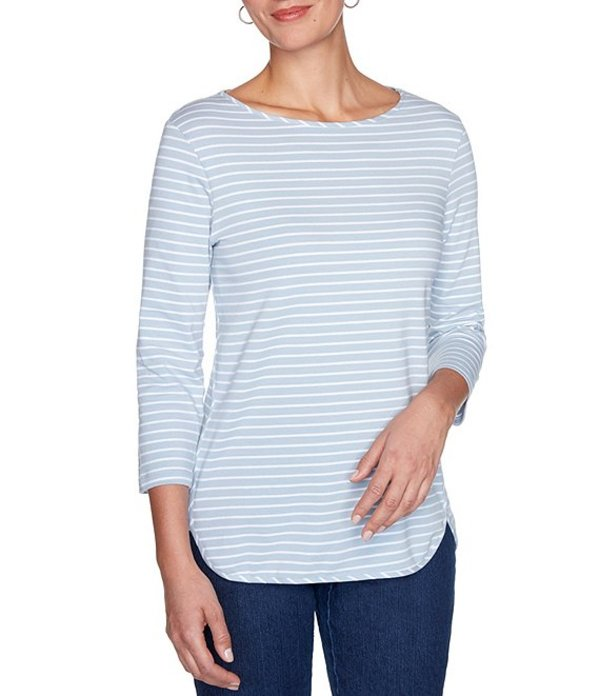 ルビーアールディー レディース Tシャツ トップス Plus Size Stripe Print Boat Neck 3/4 Sleeve Hi-Low Hem Top Blue