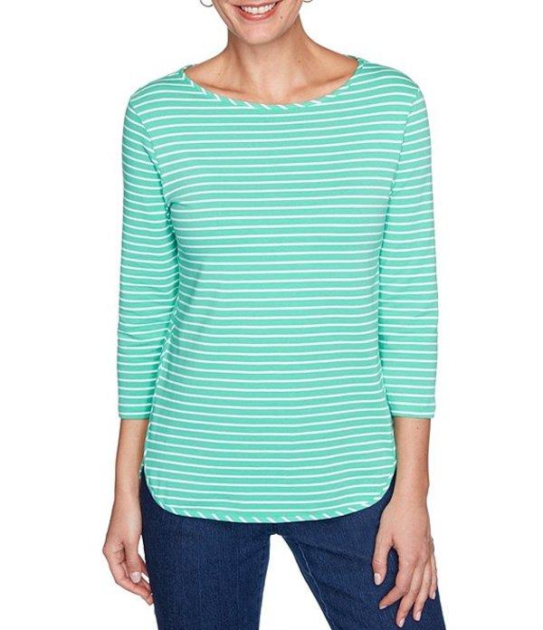 ルビーアールディー レディース Tシャツ トップス Plus Size Stripe Print Boat Neck 3/4 Sleeve Hi-Low Hem Top Mint