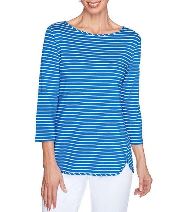 ルビーアールディー レディース Tシャツ トップス Plus Size Stripe Print Boat Neck 3/4 Sleeve Hi-Low Hem Top Royal