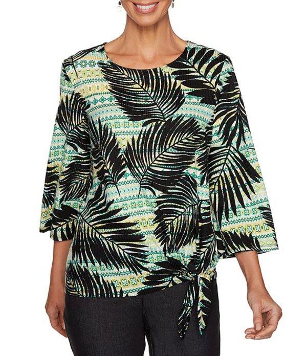 ルビーアールディー レディース Tシャツ トップス Petite Size Palm Leaf Multi Print Rib Knit 3/4 Sleeve Side Tie Top Black Multi
