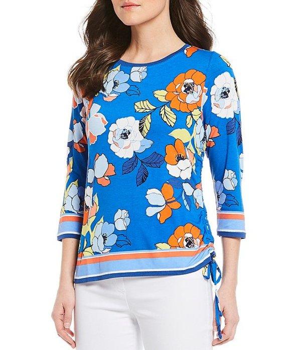 ルビーアールディー レディース Tシャツ トップス Petite Size Floral Border Print 3/4 Sleeve Side Ruching Knit Top Royal Multi
