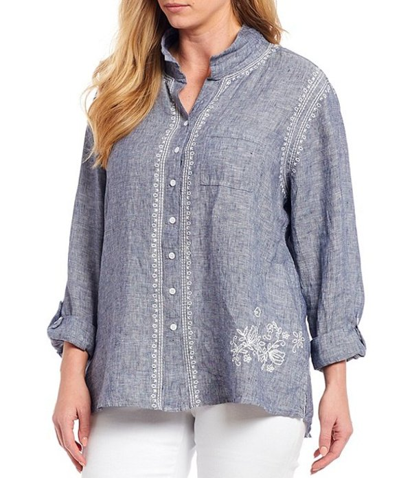 ジョン マーク レディース カットソー トップス Plus Size Chambray Embroidered 3/4 Sleeve Button Front Tunic Indigo