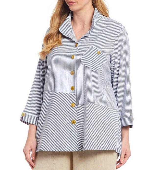 ジョン マーク レディース カットソー トップス Plus Size Chambray Crinkle Seersucker Stripe Button Front Cotton Blend Tunic Denim