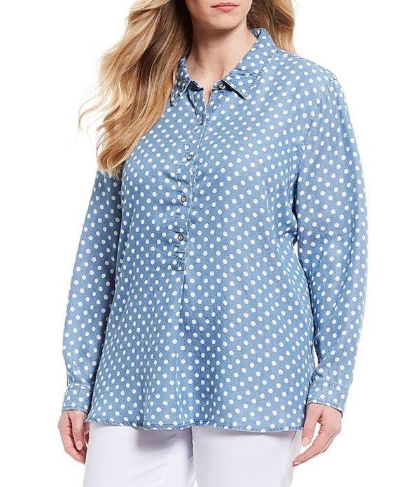 マルチプルズ レディース シャツ トップス Plus Size Dotted Print Long Sleeve Button Front Side Vent Shirt Light Indigo