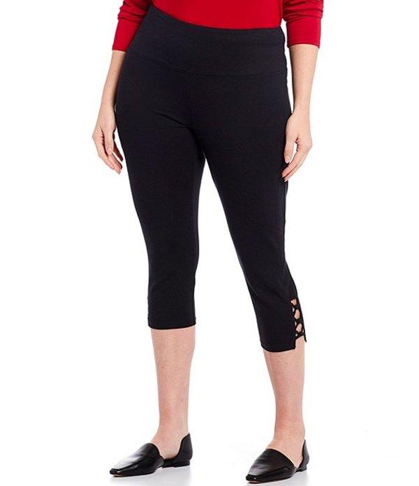 イントロ レディース カジュアルパンツ ボトムス Plus Size Teri Love the Fit Knot Trim Hem Detail Capri Leggings Ebony Black