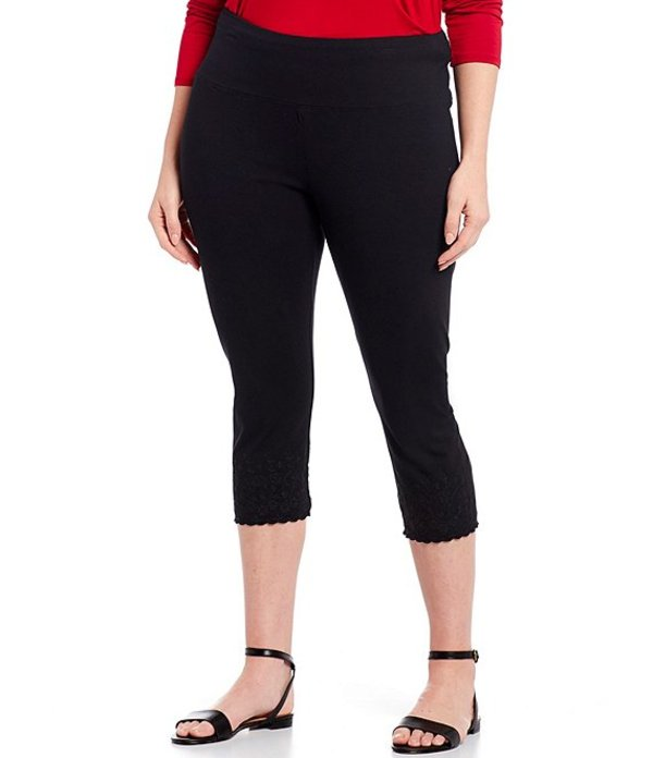 イントロ レディース カジュアルパンツ ボトムス Plus Size #double;Teri#double; Love the Fit Embroidered Hem Capri Leggings Ebony Black