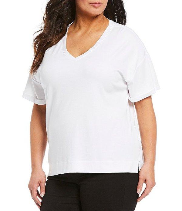 ウエストバウンド レディース Tシャツ トップス Plus Size Short Sleeve V-Neck Tee White