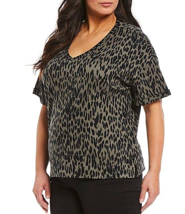ウエストバウンド レディース Tシャツ トップス Plus Size Olive Leopard Print Short Sleeve V-Neck Tee Olive Leopard
