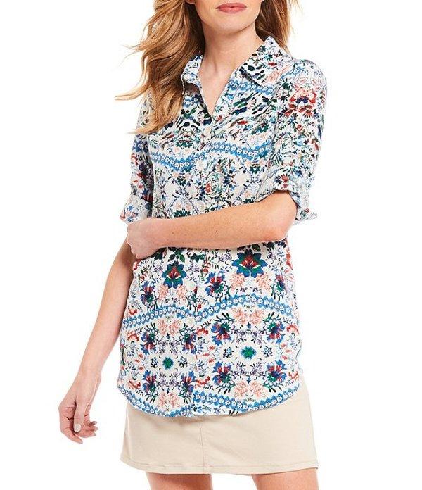 イントロ レディース シャツ トップス Petite Size Floral Multi Print Long Roll-Tab Sleeve Button Down Shirt Neoprene Blue Floral Multi
