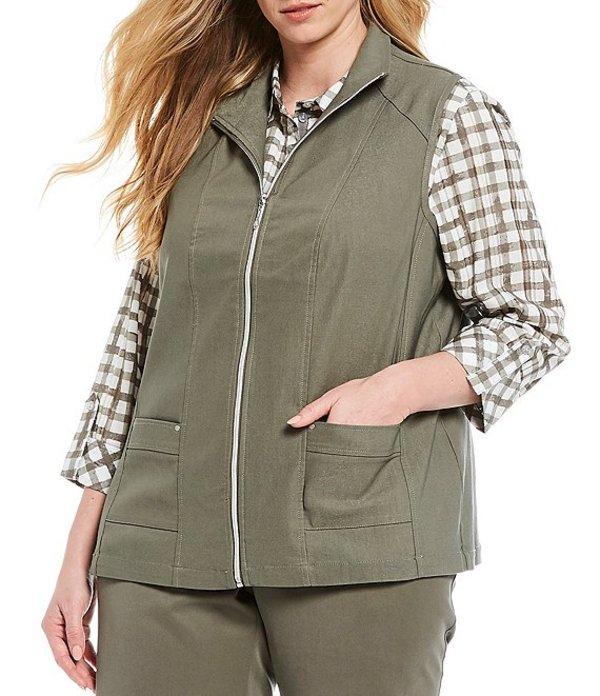 アリソン デイリー レディース ベスト アウター Plus Size Stretch Twill Exposed Zipper Front Cotton Blend Vest Sage