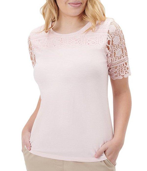アリソン デイリー レディース Tシャツ トップス Petite Size Crew Neck Lace Sleeve Cotton Blend Top Shell Pink