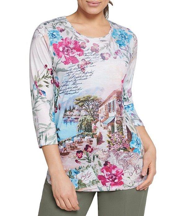 アリソン デイリー レディース Tシャツ トップス Petite Size Pink Butterfly Print Spun Knit Jersey 3/4 Sleeve Top Pink Butterfly