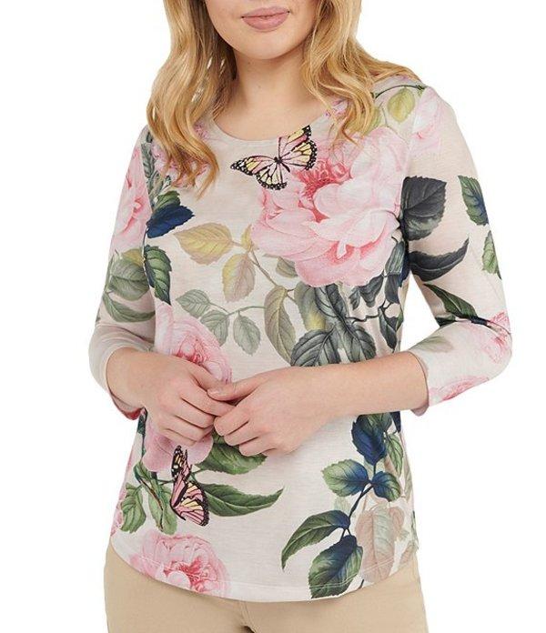 アリソン デイリー レディース Tシャツ トップス Petite Size Pink Floral Butterfly Print Spun Knit Jersey 3/4 Sleeve Top Floral Butterfly