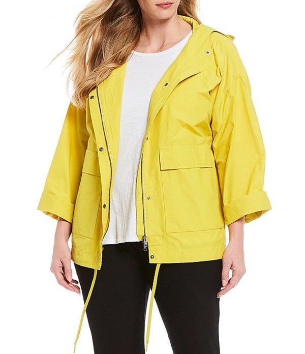 エイリーンフィッシャー レディース ジャケット・ブルゾン アウター Plus Size Light Organic Cotton Nylon Long Sleeve Hooded Coat Yarrow