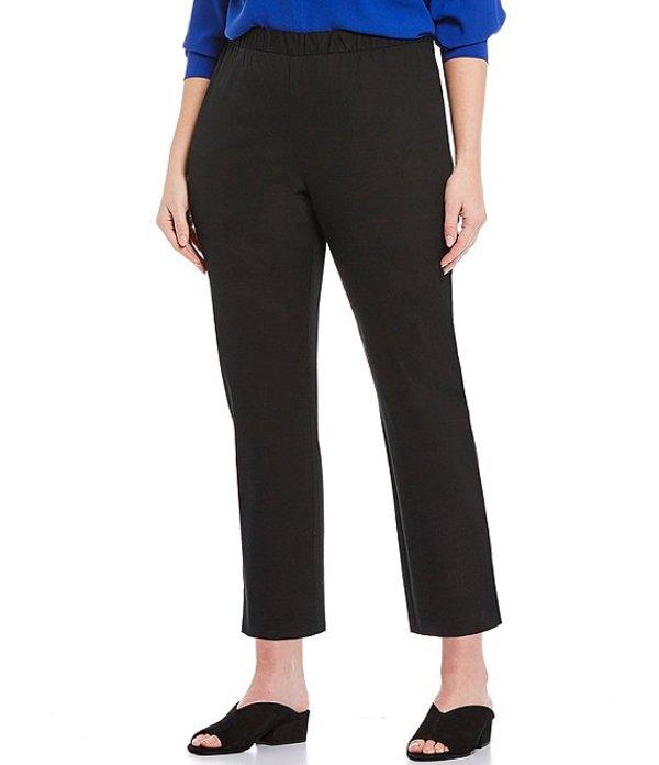 エイリーンフィッシャー レディース カジュアルパンツ ボトムス Plus Size Organic Cotton Stretch Twill Midrise Ankle Pant With Slits Black