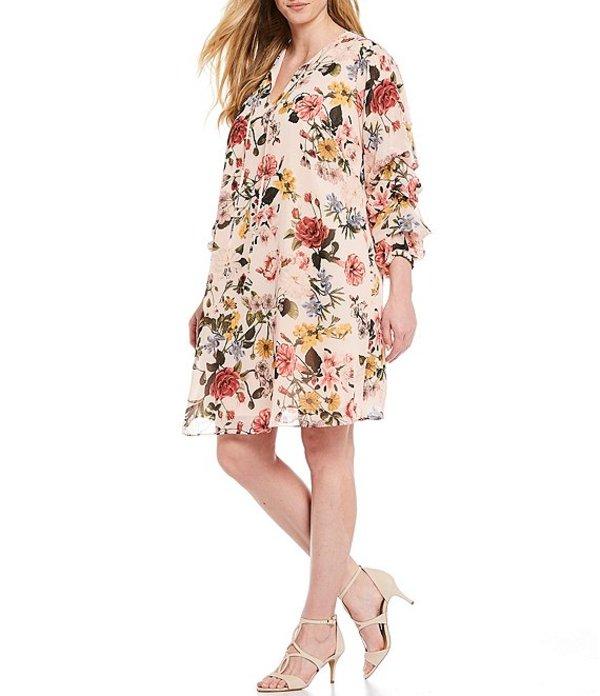 ヴィンスカムート レディース ワンピース トップス Plus Size Ruched Long Sleeve Floral Print Shift Dress Blush