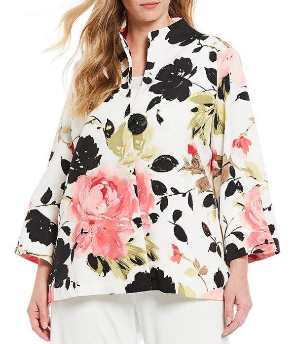 アイシーコレクション レディース ジャケット・ブルゾン アウター Plus Size Floral Print Back Pleats One-Button Jacket Pink