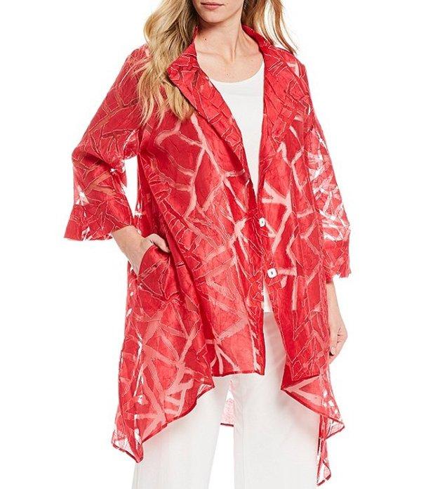 アイシーコレクション レディース ジャケット・ブルゾン アウター Plus Size Stand Collar Burnout Balloon Asymmetric Hem Jacket Red