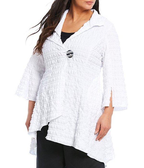 アイシーコレクション レディース ジャケット・ブルゾン アウター Plus Size Pucker Asymmetric Collar One-Button Jacket White