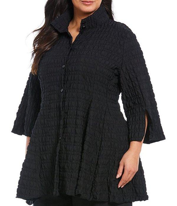 アイシーコレクション レディース ジャケット・ブルゾン アウター Plus Size Bubble Check Sleeve Hem Slit Detail Bell Bottom Jacket Black