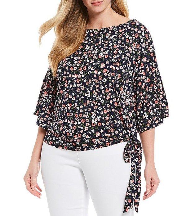 マイケルコース レディース Tシャツ トップス MICHAEL Michael Kors Plus Size Garden Print Lux Matte Jersey Flounce Sleeve Side Tie Top Coral Peach