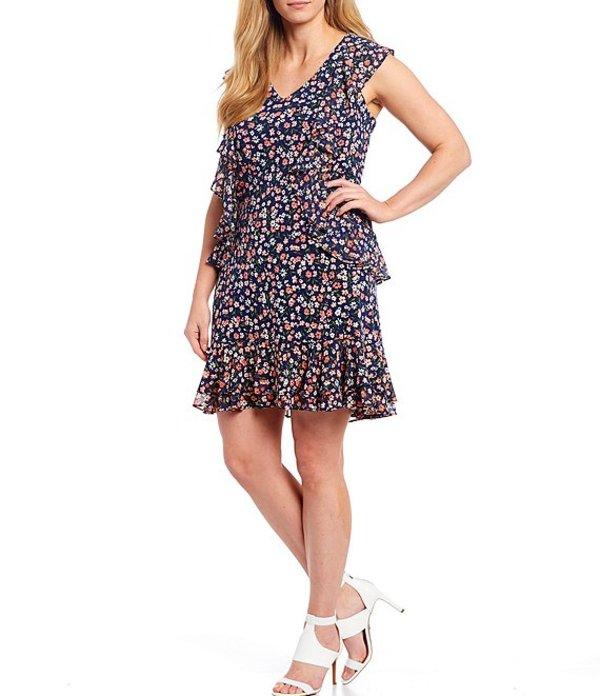 マイケルコース レディース ワンピース トップス MICHAEL Michael Kors Plus Size Garden Patch Print Lux Matte Jersey V-Neck Cap Sleeve Cascade Ruffle Dress Coral Peach