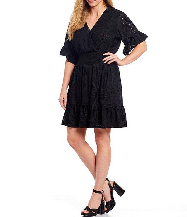 マイケルコース レディース ワンピース トップス MICHAEL Michael Kors Plus Size Knit Eyelet Jacquard V-Neck Flounce Sleeve Smocked Waist Dress Black